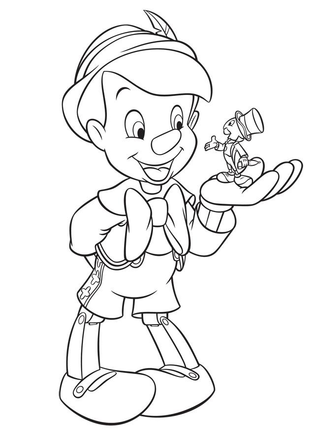 Coloriage et dessins gratuits Pinocchio parle avec Jiminy à imprimer