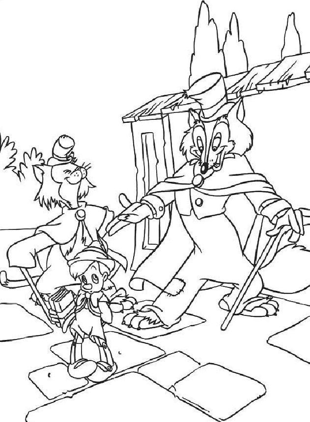 Coloriage et dessins gratuits Pinocchio rencontre le grand Coquin à imprimer
