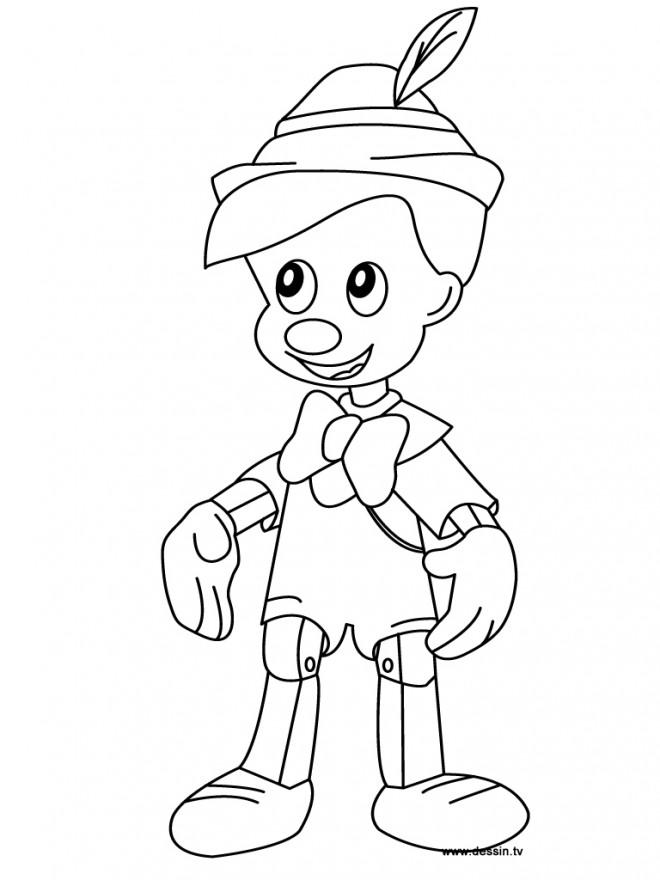 Coloriage et dessins gratuits Pinocchio simple à imprimer