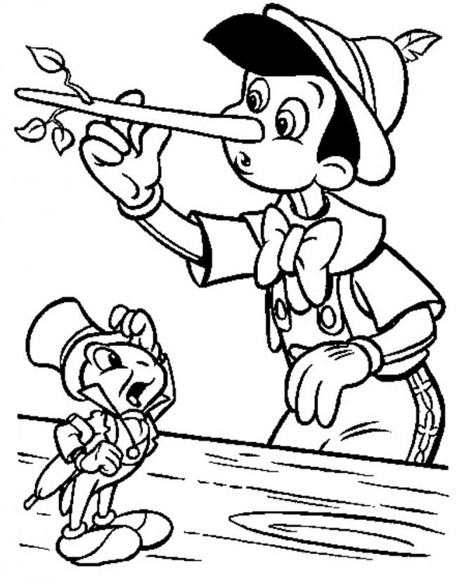 Coloriage et dessins gratuits Pinocchio touche son nez à imprimer