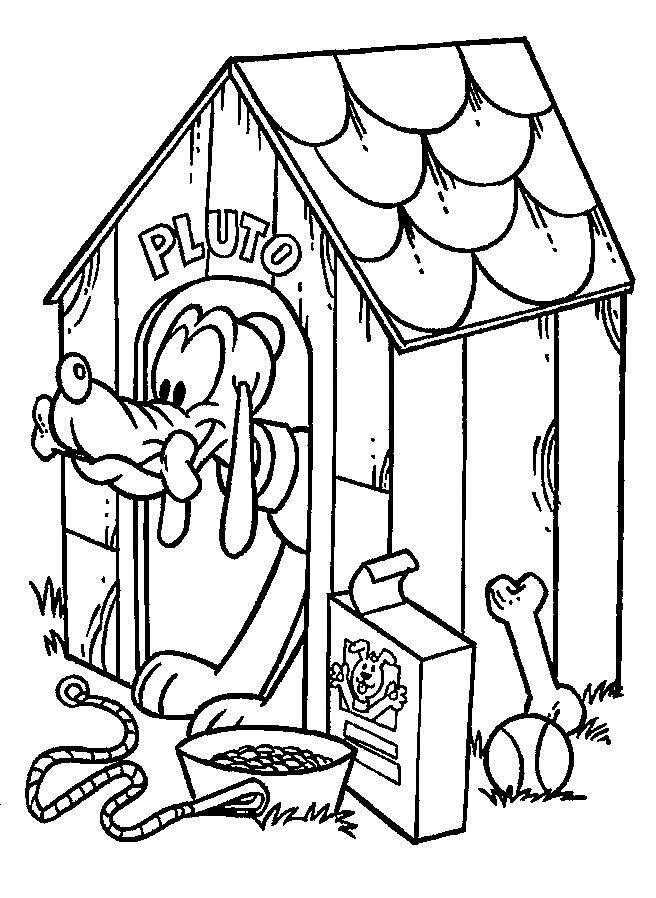 Coloriage Chien Dans Sa Niche.Coloriage Pluto Dans Sa Niche Dessin Gratuit A Imprimer
