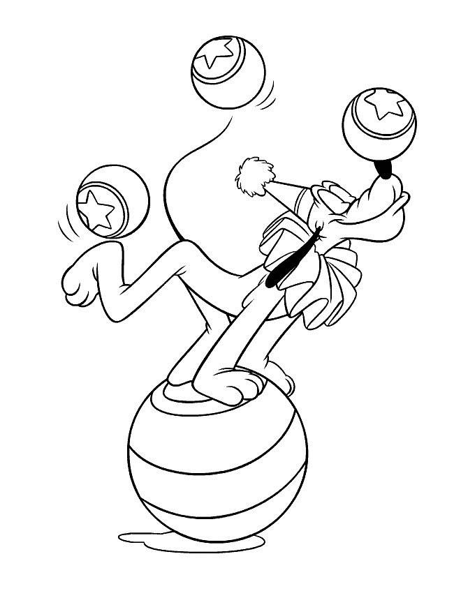 Coloriage et dessins gratuits Pluto en cirque à imprimer