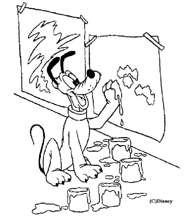 Coloriage et dessins gratuits Pluto fait de la peinture à imprimer