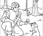 Coloriage John donne un biscuit à Meeko