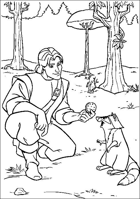 Coloriage et dessins gratuits John donne un biscuit à Meeko à imprimer
