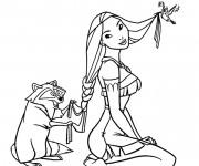 Coloriage et dessins gratuit Meeko fait une tresse aux cheveux de Pocahantas à imprimer