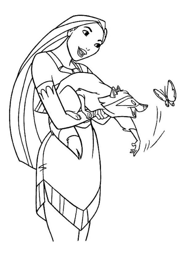 Coloriage et dessins gratuits Meeko joue avec un papillon à imprimer