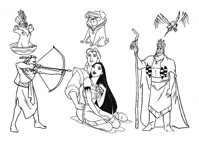 Coloriage et dessins gratuits Personnages de Pocahantas à imprimer