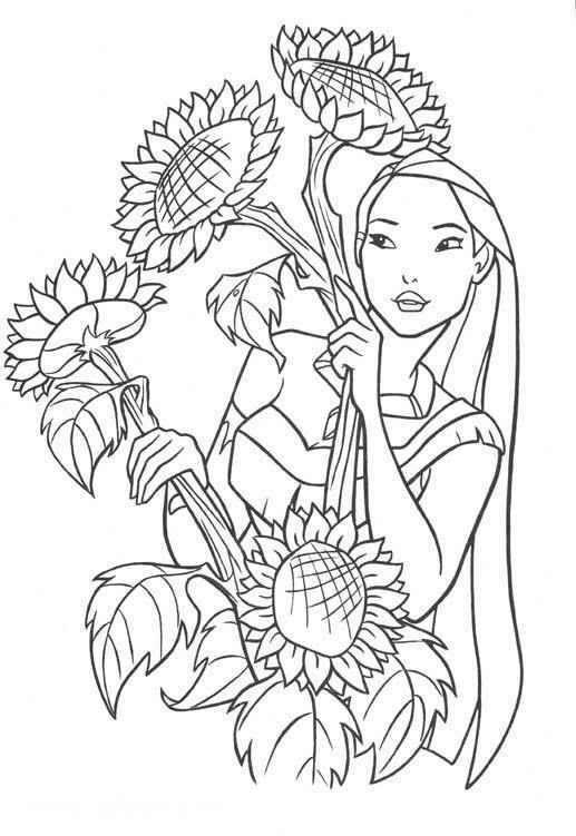 Coloriage et dessins gratuits Pocahantas cueille les fleurs de tourne sol à imprimer
