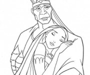 Coloriage et dessins gratuit Pocahonta étreint fermement son père à imprimer