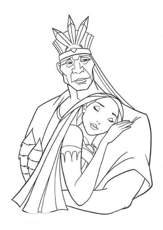 Coloriage et dessins gratuits Pocahonta étreint fermement son père à imprimer