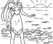 Coloriage et dessins gratuit Pocahontas contemple le lever du soleil à imprimer