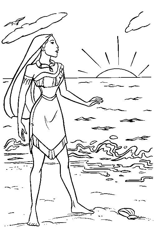 Coloriage et dessins gratuits Pocahontas contemple le lever du soleil à imprimer