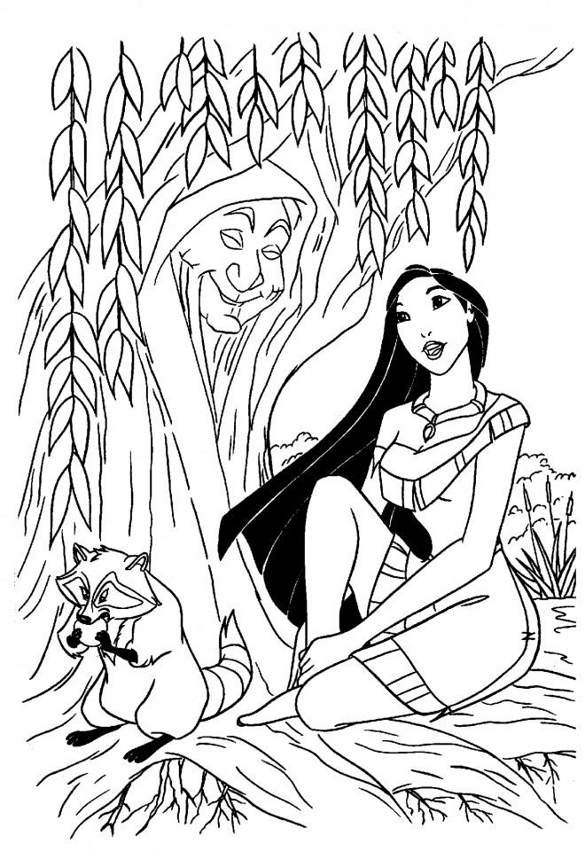 Coloriage et dessins gratuits Pocahontas entrain de chanter à imprimer