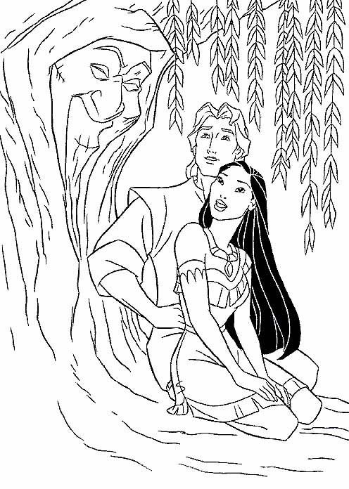 Coloriage et dessins gratuits Pocahontas et John admirent l'arbre à imprimer