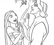 Coloriage Pocahontas et John rient ensemble