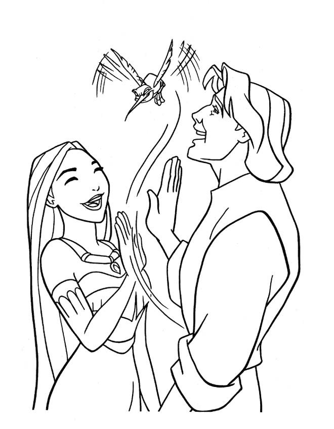 Coloriage et dessins gratuits Pocahontas et John rient ensemble à imprimer