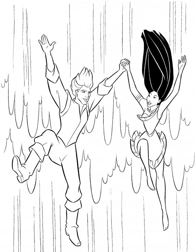 Coloriage et dessins gratuits Pocahontas et John sautent d'une cascade d'eau à imprimer