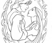 Coloriage dessin  Pocahontas et John Smith
