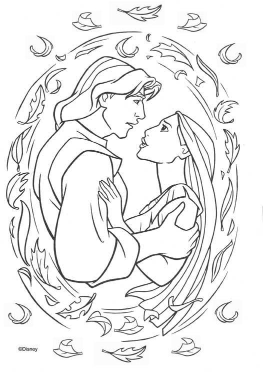 Coloriage et dessins gratuits Pocahontas et John Smith à imprimer