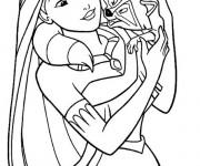 Coloriage et dessins gratuit Pocahontas et Meeko à imprimer