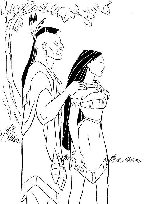 Coloriage et dessins gratuits Pocahontas et son père Powhatan à imprimer