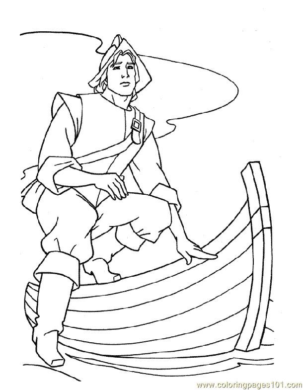 Coloriage et dessins gratuits Pocahontas monte un bateau à imprimer