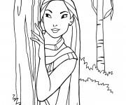 Coloriage Pocahontas se cache