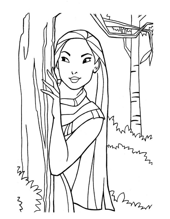 Coloriage et dessins gratuits Pocahontas se cache à imprimer