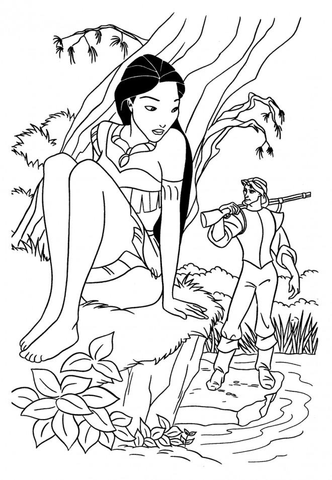 Coloriage et dessins gratuits Pocahontas se cache de John à imprimer