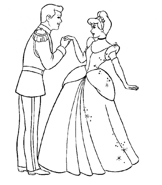 Coloriage prince henri et cendrillon dessin gratuit imprimer - Prince et princesse dessin ...