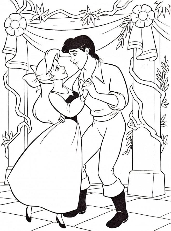 Coloriage et dessins gratuits Princesse Ariel avec Prince Eric à imprimer
