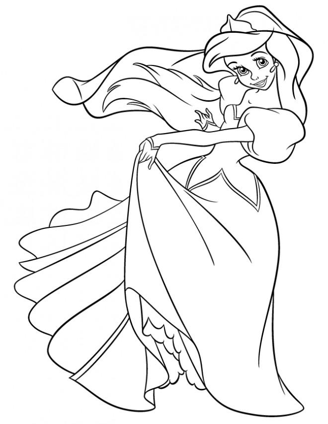 Coloriage Princesse Qui Danse Avec Prince.Coloriage Princesse Ariel Entrain De Danser Dessin Gratuit A Imprimer