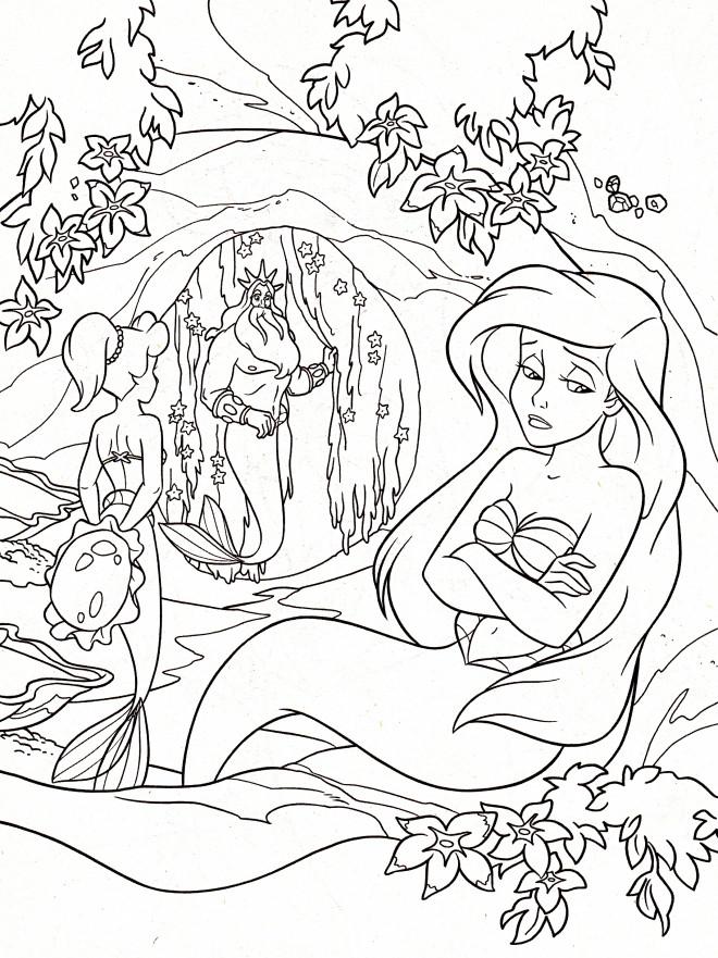 Coloriage princesse ariel est triste dessin gratuit imprimer - Dessin anime princesse ariel ...
