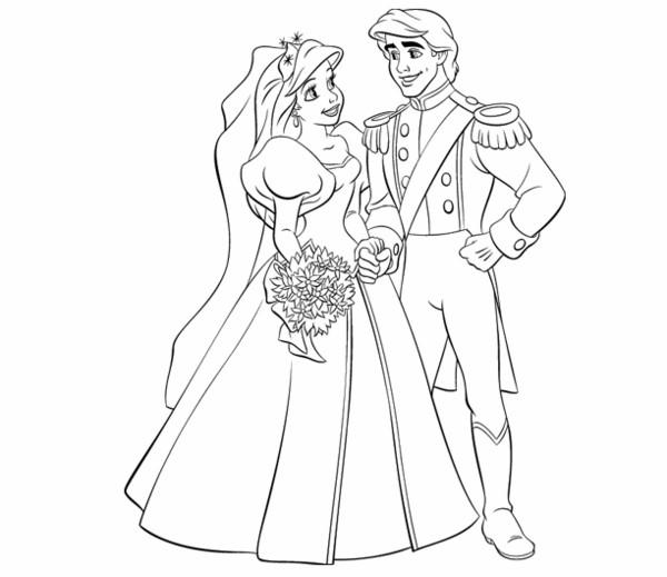 Coloriage Princesse Qui Danse Avec Prince.Coloriage Princesse Ariel Et Prince Eric Se Marient
