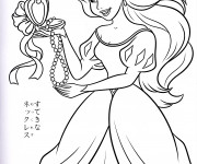 Coloriage Princesse Ariel aime son collier