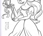 Coloriage dessin  Princesse Ariel aime son collier
