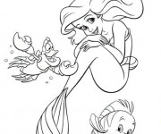 Coloriage et dessins gratuit Princesse Ariel avec ses amis à imprimer