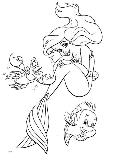 Coloriage et dessins gratuits Princesse Ariel avec ses amis à imprimer