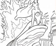 Coloriage dessin  Princesse Ariel entrain de rêver