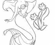 Coloriage et dessins gratuit Princesse Ariel et de jolies fleurs à imprimer
