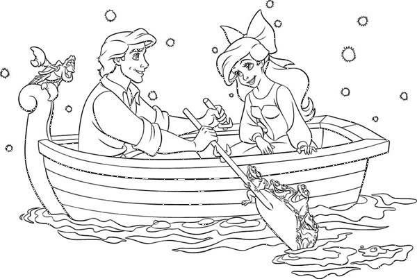 Coloriage et dessins gratuits Princesse Ariel et le prince à imprimer