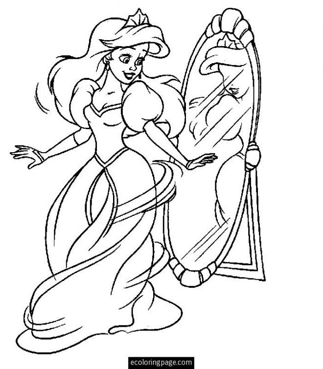 Coloriage Princesse Ariel Porte Une Belle Robe Dessin Gratuit à Imprimer