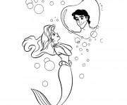Coloriage et dessins gratuit Princesse Ariel rêve de son prince à imprimer
