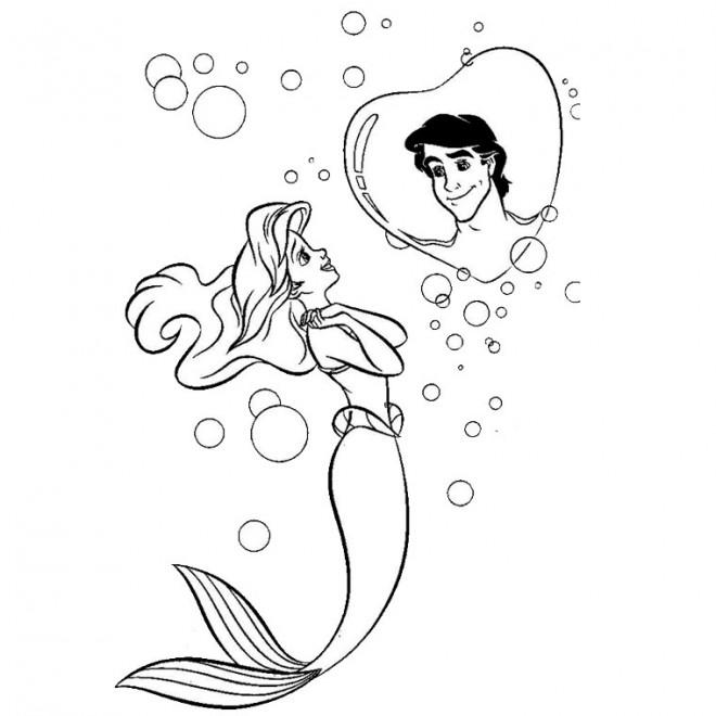 Coloriage De Prince Et Princesse A Imprimer.Coloriage Princesse Ariel Reve De Son Prince
