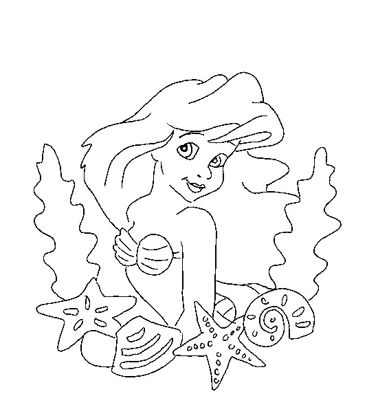 Coloriage et dessins gratuits Princesse Ariel simple à colorier à imprimer