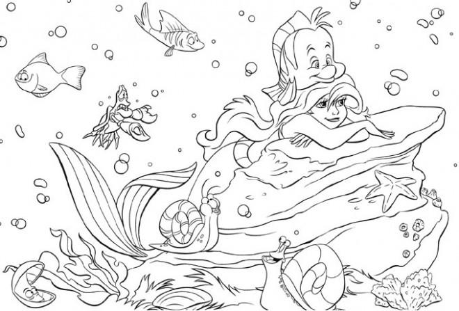Coloriage princesse ariel walt disney dessin gratuit - Coloriage princesse ariel ...