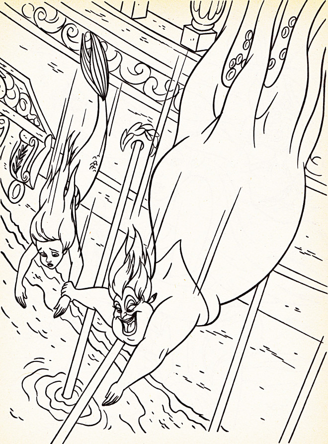 Coloriage et dessins gratuits Ursula prend Princesse Ariel en captivité à imprimer