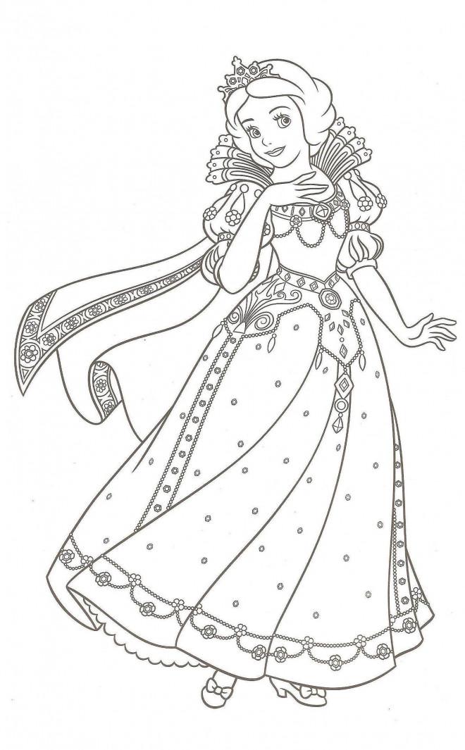 Coloriage Princesse Des Neiges.Coloriage Princesse Blanche Neige Dessin Gratuit A Imprimer
