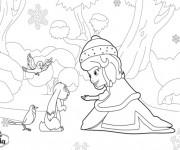 Coloriage Princesse Sofia aide Clever